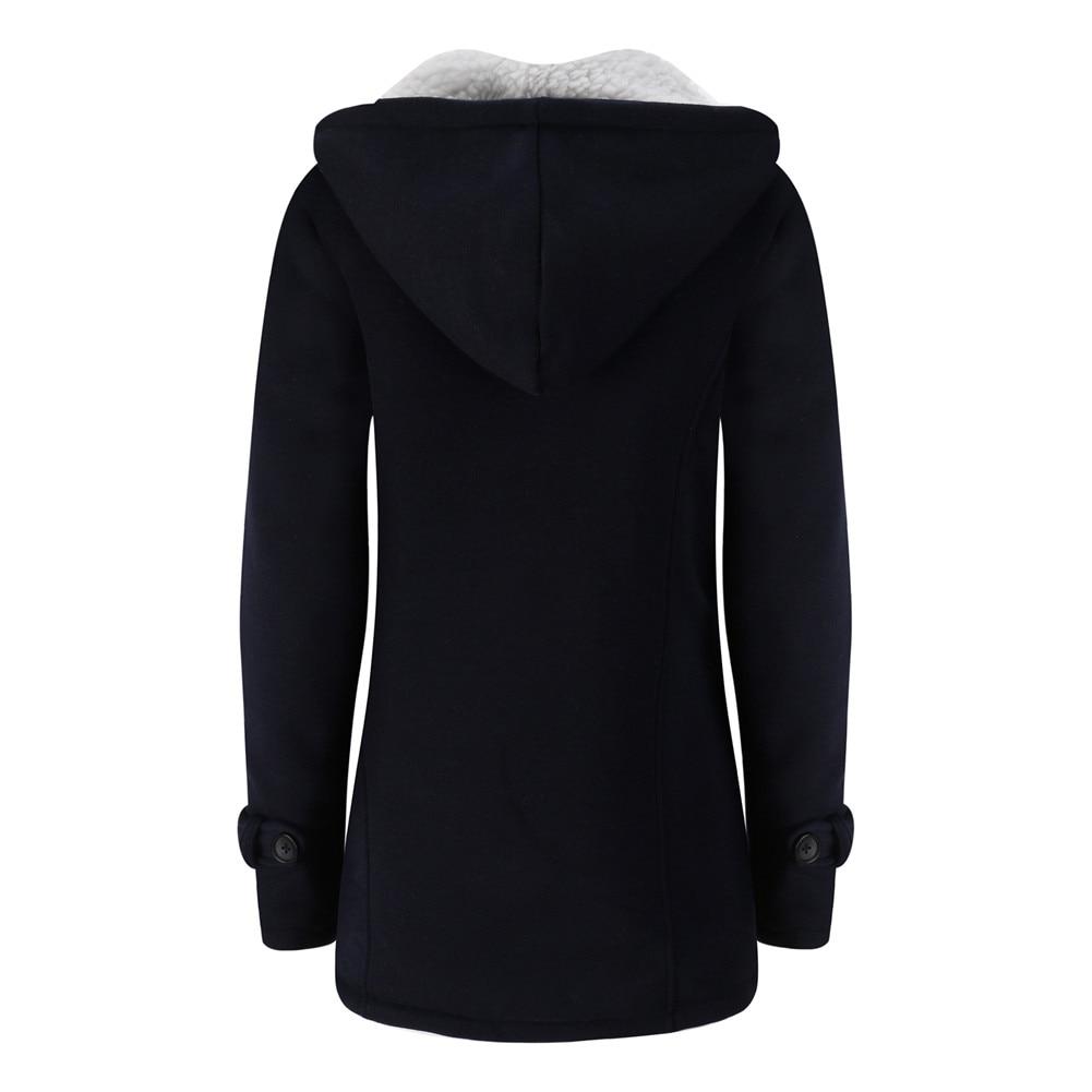 Jacket Coat Winter Women 2019 Hooded Wool Blend Praka Classic Horn Leather Buckle Coat Slim For Ladies Winter Jacket Woman Parka 15