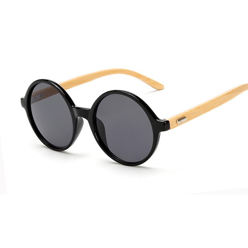Ny ankomst Wood Solglasögon kvinnor RUND solglasögon bambu solglasögon för kvinnor män Mirror eyewear retro de sol masculino