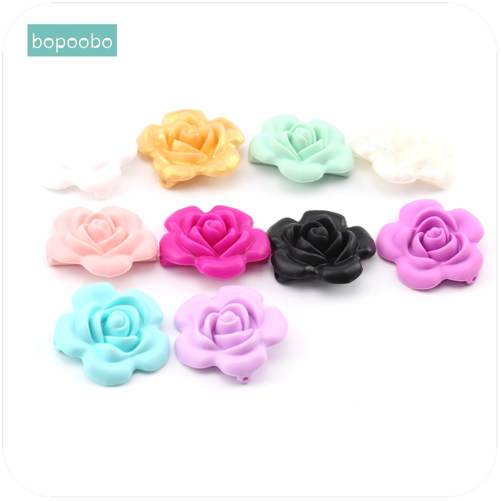 Bopoobo Baby Accessories 1pc Silicone Beads Flower Food Grade Teether DIY Nursing Jewelry Sensory Chewing Toy Baby Teether