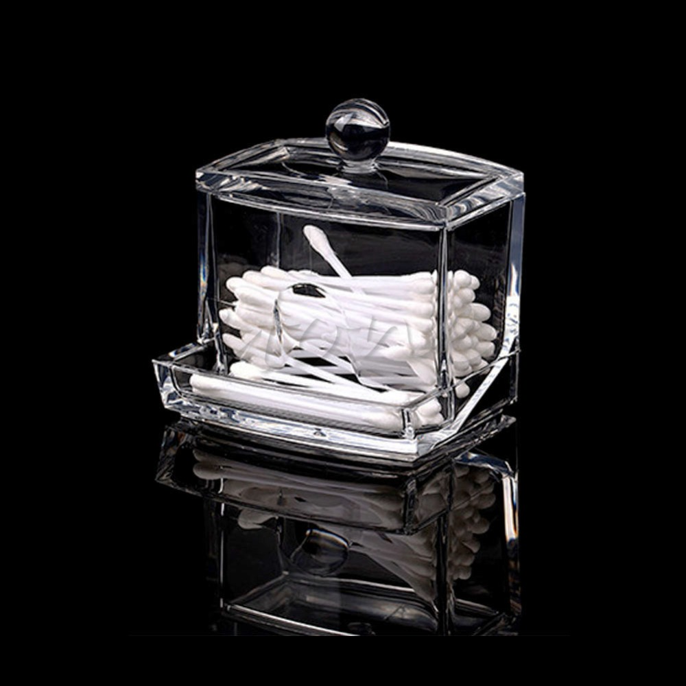 Ramadan Festival GiftsClear ABS Makeup Cotton Swabs Stick Holder Bin Storage Container Organizer Box