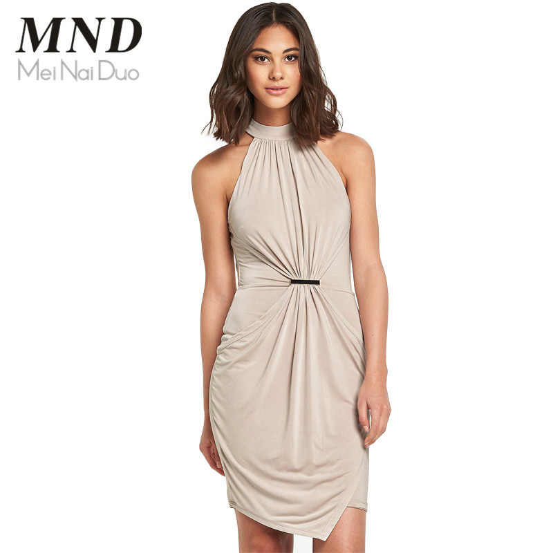 2015 Women Casual Party Dress Sexy Off the Shoulder Bodycon Slim Pleated Pencil Summer Dress (1)