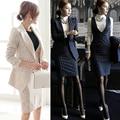 Оккупации ПР осенью и зимой с длинными рукавами платье из двух частей платье полоса одна кнопка костюм (пальто + жилет юбка)