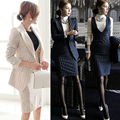 Ocupação OL outono e inverno longo-vestido de mangas compridas dois-peça vestido tarja um botão terno (revestimento + colete saia)