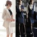 Ocupación OL otoño y el invierno de manga larga vestido de dos piezas vestido de la raya un botón suit (capa + chaleco de la falda)