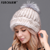 100 Mink Hat With Fur Pompom Mink Fur Knitted Caps Natural Fur Beanies Cap High Quality