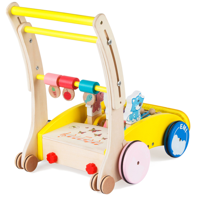 Fold baby wooden walker with musical cartoon animal