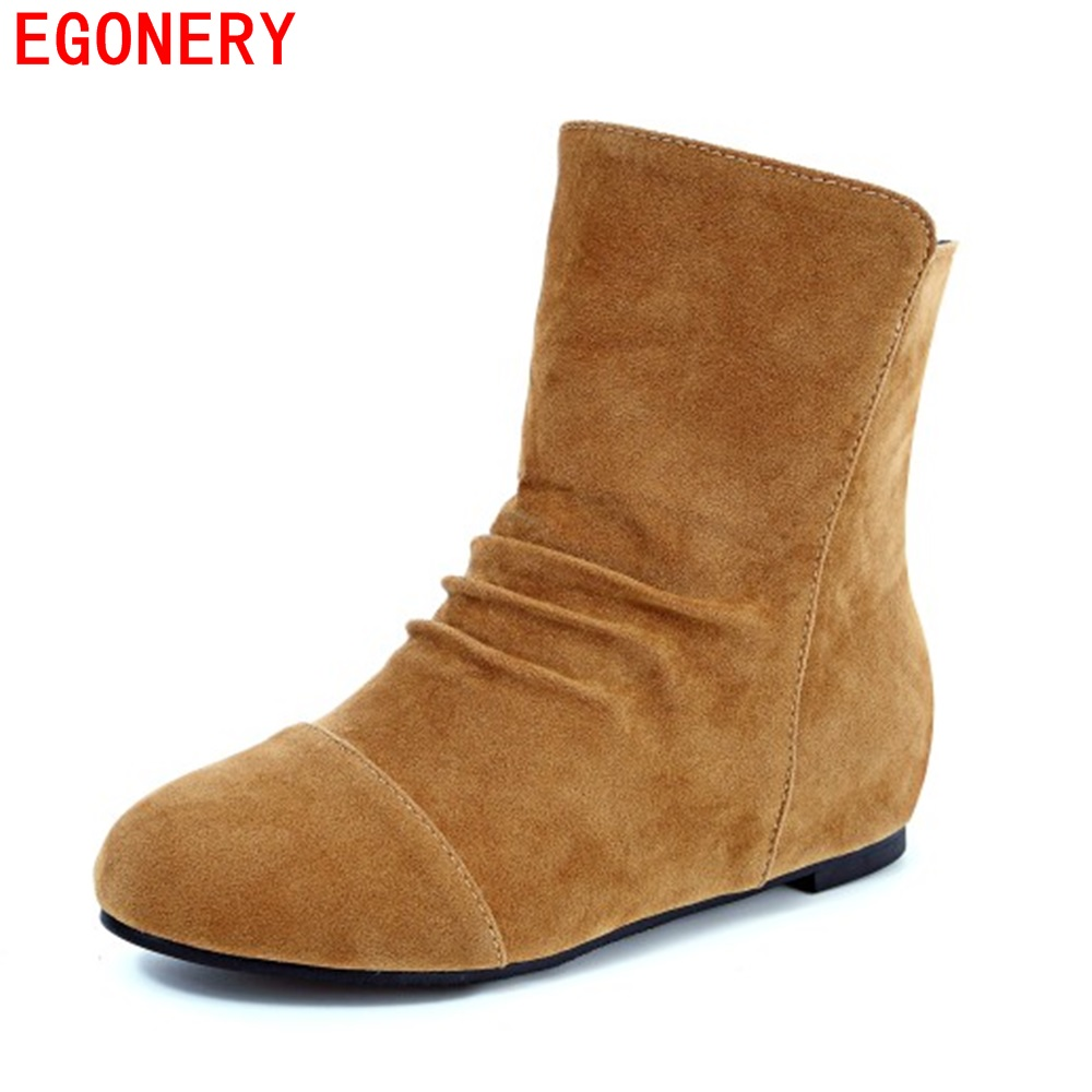 EGONERY Faux Suede Nubuck Pleated Slip On Casual Flat Women Short Boots Plus Size Round Toe Spring Lady Shoes egonery new sweet lady round toe faux leather slip air spring dress women pumps heels shoes top size us 12