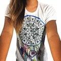 Женщины Летняя Мода Повседневная Перо Отпечатано С Коротким Рукавом Slim Fit Crewneck Tee Футболки Белый