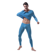 Male underwear thermal underwear for men slim ice silk long johns