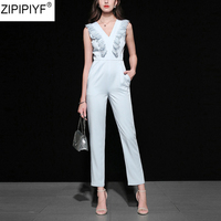 High Qulity 2018 Fashion Elegant Streetwear Style Full Length Jumpsuits Women Sleeveless Deep V Neck Lace Summer Romper C1238