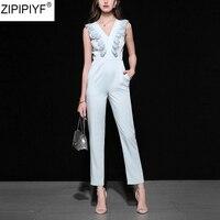High Qulity 2018 Fashion Elegant Streetwear Style Full Length Jumpsuits Women Sleeveless Deep V Neck Lace Summer Romper C1238