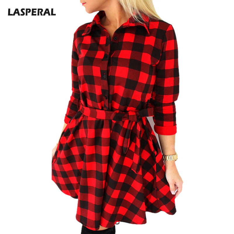 LASPERAL Long Sleeve Blouses Dress Women Turn Down Collar Plaid Linen Pleated Dresses Female Spring Autumn Vestidos