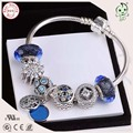 Fashionable Silver Jewelry Shining Bule Charm Series Famous Brand 925 Real Silver Charm Bracelet