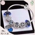Moda Jóias de Prata Brilhante Bule Série Charme Famosa Marca 925 Reais de Prata Charm Bracelet
