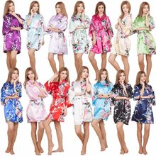 Sexy Female Mini Silk Robe Rayon Kimono Yukata Night Dress Gown Flower &Peacock robe Pijamas Batas De Seda Peignoir Kimono Robe(China)