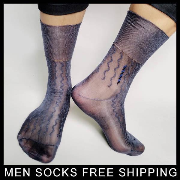 High quality Men Nylon silk socks For Leather shoes Ulta thin see through Sexy Gay fetish Collection socks Formal dress socks