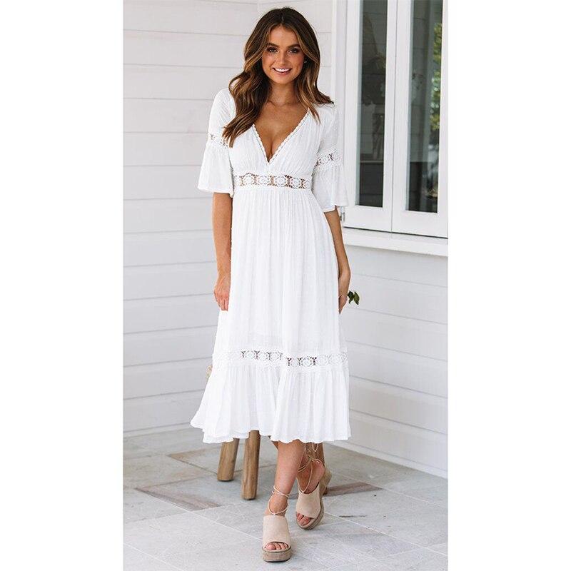 bface344470a96b Модное летнее платье с длинными рукавами и v-образным вырезом с высокой  талией цветочный принт