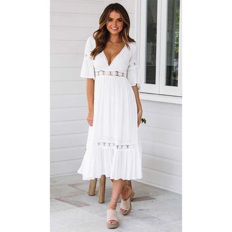 Ordifree 2020 Summer Women White Maxi