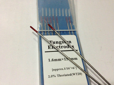 10X WT20/Red/Thoriated WP20/Green/Pure WC20/Gray/Ce-W WL20/Blue/Lanthanat 2% TIG Welding Tungsten Electrode Bar Stick 1.6x150mm