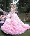 Rosa 2017 vestidos quinceanera vestidos de bola vestidos sweet 16 ano Long Train Princesa Vestidos Para 15 Anos de Vestidos De 15 Anos