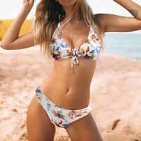 Femmes imprimé Bikini ensemble Sexy push-up rembourré soutien-gorge taille haute plage Bikini ensemble deux pièces maillot de bain costume de bain femme #20