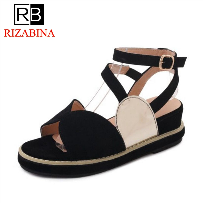 RizaBina Women Flats Sandals Mixed Color Daily Club Shose Women Simple Vacation Beach Sandals Casual Footwear Size 35-39