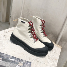 Winter Motorcycle Ankle Boots Canvas Women Fashion Work Shoes Black Round Toe Lace-Up Female