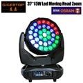 Бесплатная доставка 650 Вт Высокая мощность Osram 37x15 Вт Led Moving Head Zoom Light управление цветным кольцом RGBW 4IN1 DMX512 18/42 CH луч мыть
