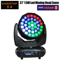 Freeshipping 650W High Power Osram 37 x 15W Led Moving Head Zoom Light Color Ring Control RGBW 4IN1 DMX512 18/42 CH Beam Wash