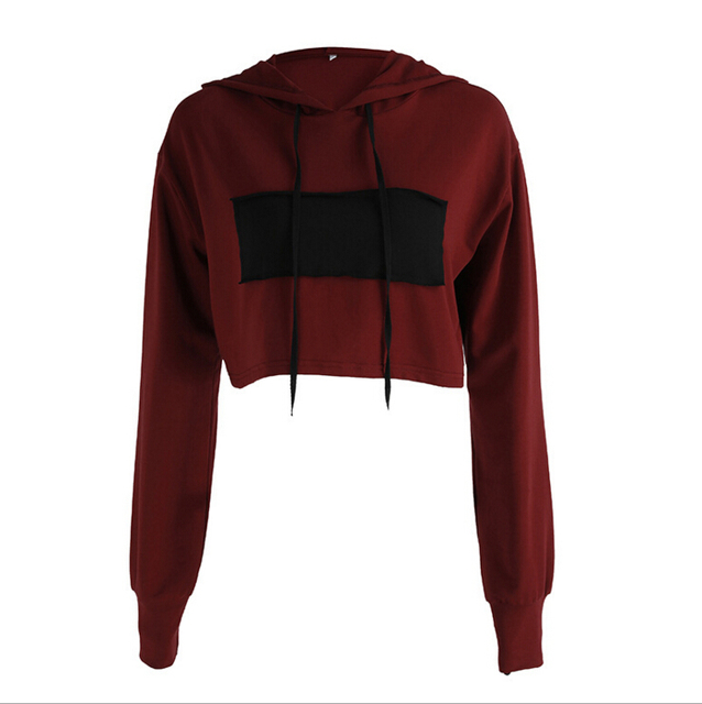 511acf07897dca Women Hoodies Jumper Sweatshirt Patchwork Burgundy Casual Cropped Top Long  Sleeve Wine Red Workout Pullover Coat Women