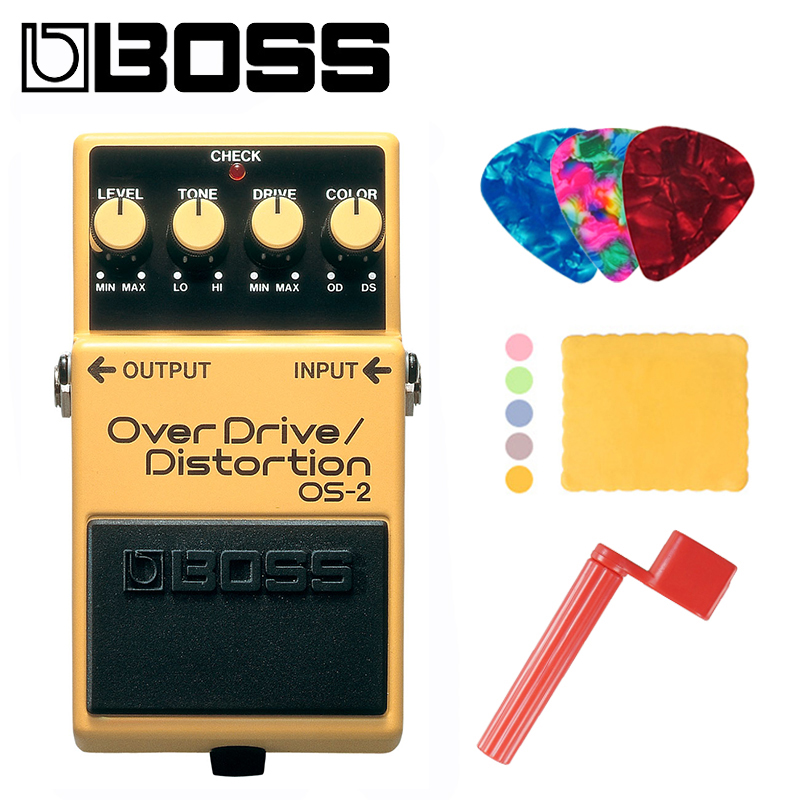 Boss OS-2 Audio Overdrive and Distortion Effects Pedal for Guitar and Bass Bundle with Picks, Polishing Cloth and Strings Winder image
