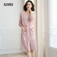 XJXKS Knitwear Women Autumn And Spring 2019 New Sweater Breathable Coat Long Cardigan Women Thin Sweater With Belt