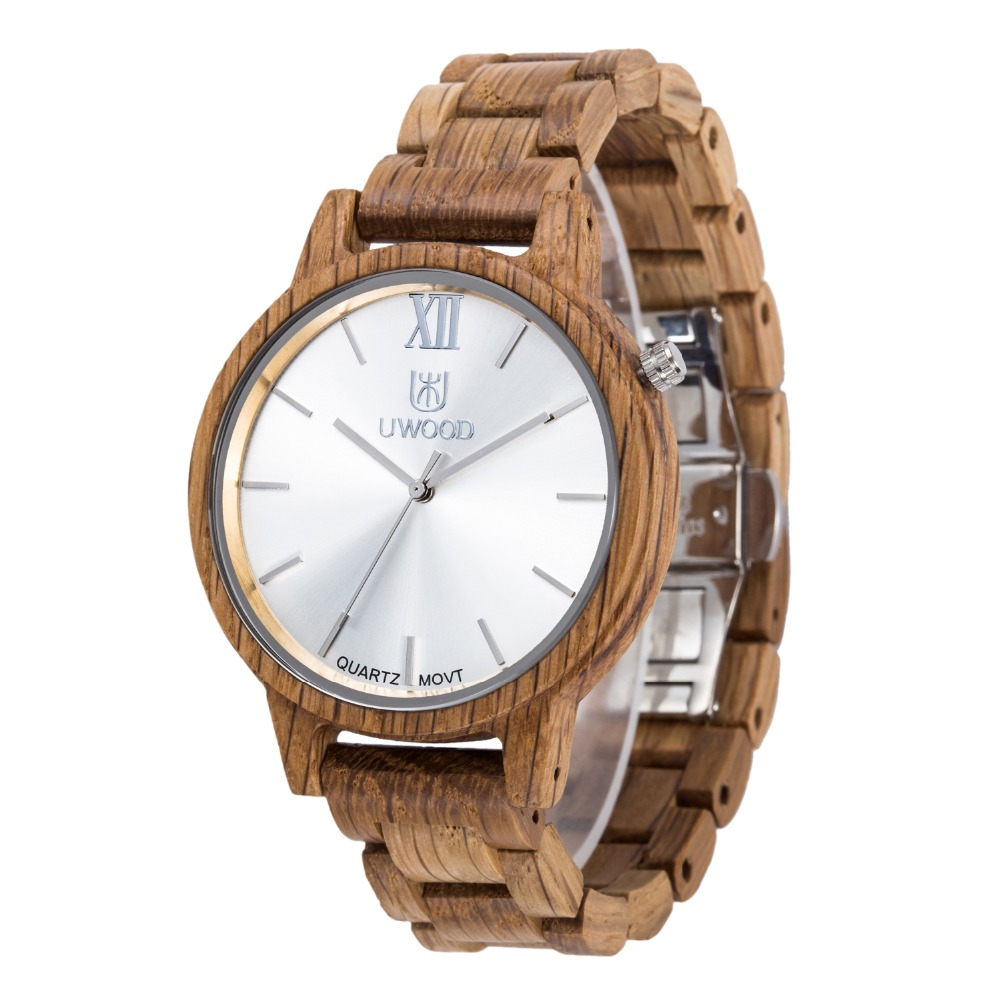 UWOOD Wooden Watch 2017 Luxury Brand Watch Men's Handmade Sandal wood Big Dial Quartz Mens Watches For Big Men bobo bird brand new sun glasses men square wood oversized zebra wood sunglasses women with wooden box oculos 2017