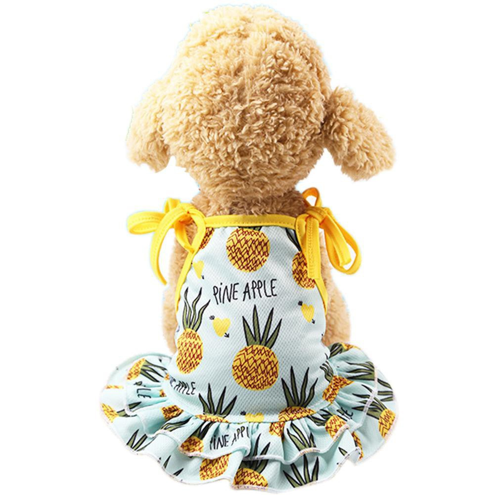 Huisdier Jurk Vest Zachte Rok Kostuum Leuke Ademende Kleding Mesh Mouwloze Bloemen Zomer Paar Kleding Ananas Hond Kat Bright Luster