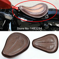 Golden Spring Brown Leather Solo Seat W Brackets Fits Fits For Harley Sportster 883 1200 XL
