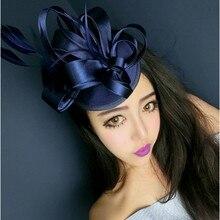 Модные Элегантные Женские королевские чародейные льняные Санти Свадебные перьевые шляпы заколки для волос вечерние аксессуары для волос