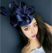 Freeshipping fashion elegant ladies royal fascinator linen santi bridal feather hat hairpins clips party hair accessories