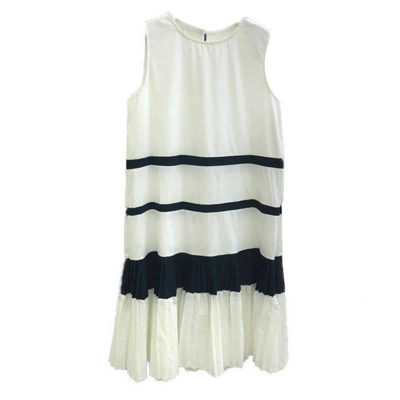 LANMREM контрастный Цвет Лоскутная 2019 летняя новая модная одежда для женщин без рукавов Лоскутная плиссированная кромка женские платья YH450