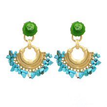 Natural Stone Women Dangle Earring Tassel Gold Color Drop Earrings Green Resin Big Statement Jewelry Aretes Blue Colorful Druzy gold color with green gray pink tassel drop earrings