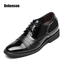 Classic Men Dress Shoes,Fashion Pointed Toe Lace Up Man Oxfords Leather Shoes 6cm Heightening & Normal Wedding Shoes Black