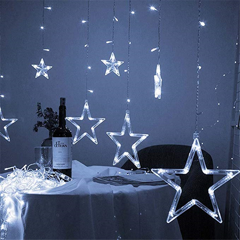 LED Copper Wire Star Curtain String Lights Lamp Fairy Lighting For Outdoor Wedding Christmas Decoration 220v EU Plug TwinklyLED Copper Wire Star Curtain String Lights Lamp Fairy Lighting For Outdoor Wedding Christmas Decoration 220v EU Plug Twinkly