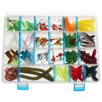 146pcs Fishing Lure Set Mixed Soft lures Worms Octopus Lures Fish Lure Kit with Box Lead Jig Hooks Artificial Baits