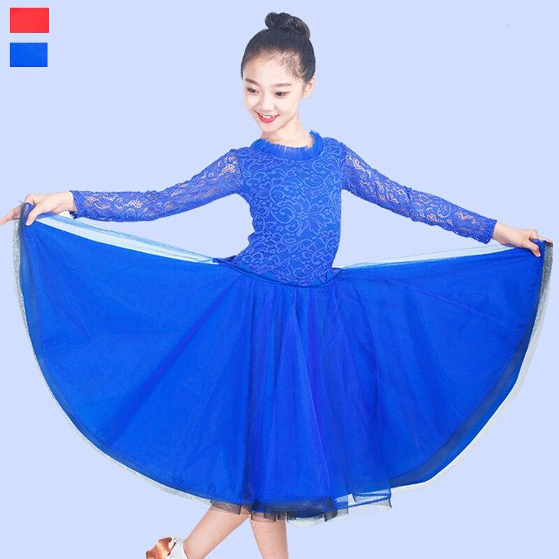 Ballroom Dance Dresses For Girls Lace Milk Fiber Standard Dancing Wear Kids Modern Waltz Competition Performance Dress DNV10346