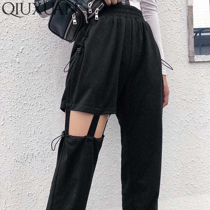 QIUXUAN Pants Suspenders Spring Streetwear Drawstring-Design Hollow-Out High-Waist Casual