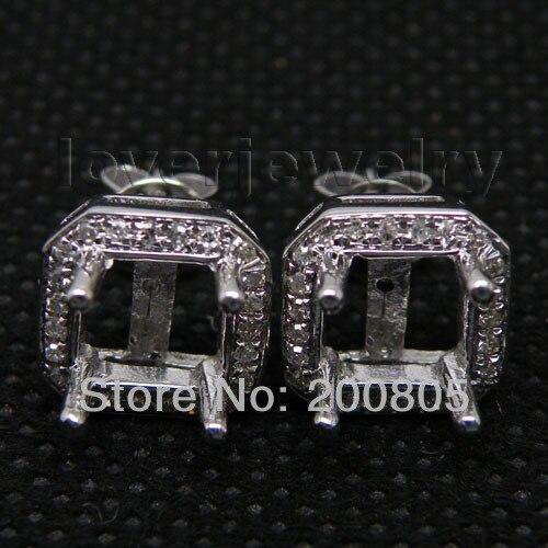 6a859b2b4e6c ②Vintage princesa 6x6mm 14kt oro blanco diamante Pendientes ca001 ...