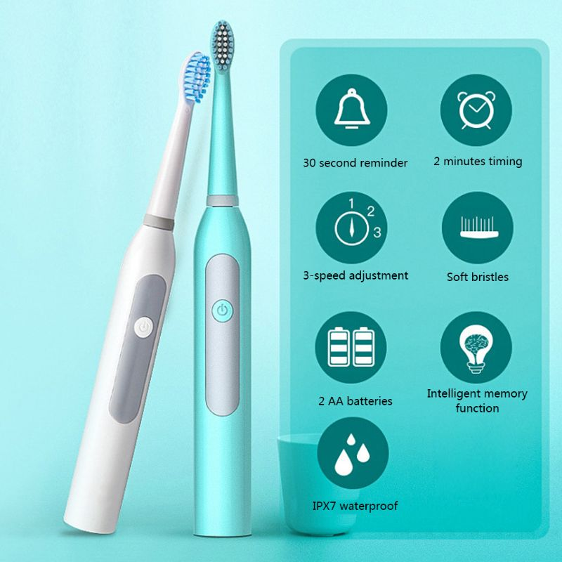 Adult Electric Toothbrush Sonic Timer Battery Powered Brush Head Replacement Waterproof Home image