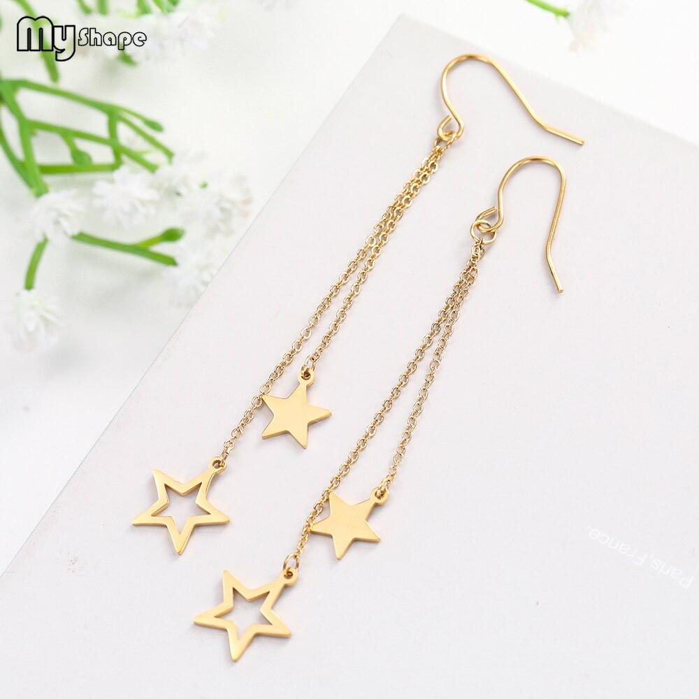 My Shape Long Stainless Steel Geometric Stars Earrings Wedding Dangle Drop Hoop Earring Jewelry