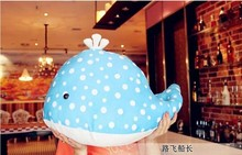 plush dolphin toy blue stuffed dolphin spots whale doll birthday gift toy about 50x35cm
