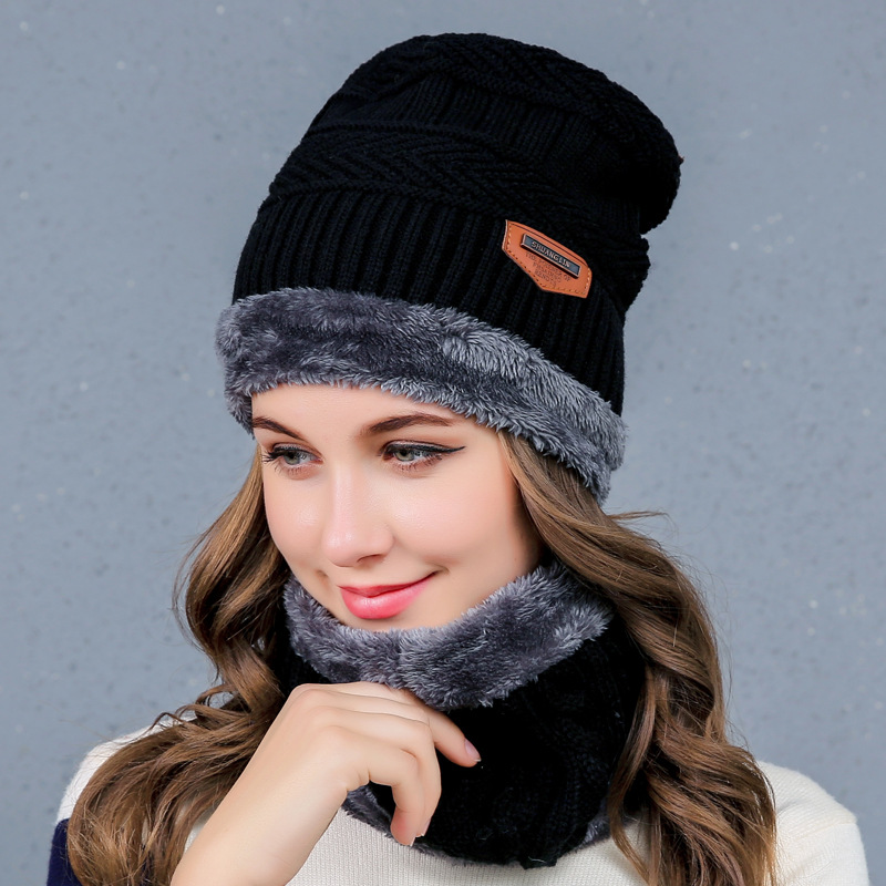 Neck Warmer Ski Cap and Scarf Cold Warm Fur Lining Winter Hat for Women Men Skullies Knitted Thick Velvet Beanies Hat Bonnet 35colors silver gold soild india scarf cap warmer ear caps yoga hedging headwrap men and women beanies multicolor fold hat 1pc