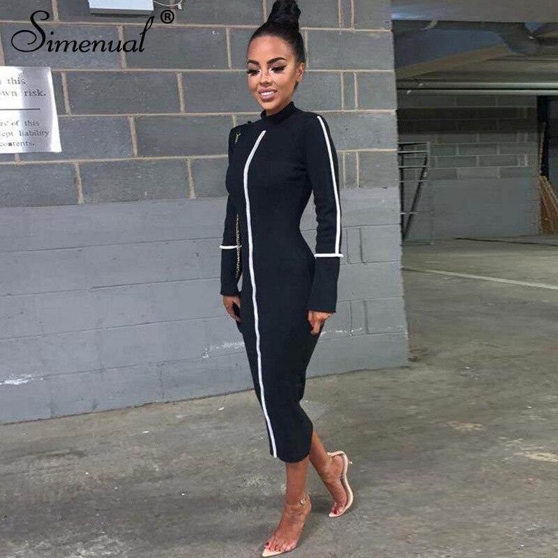 Simenual Casual Bodycon Women Long Dress Fashion Full Sleeve Striped Patchwork  Dresses Fashion Turtleneck Ladies Skinny Dresses